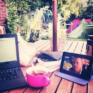 My laptop and tea in the garden