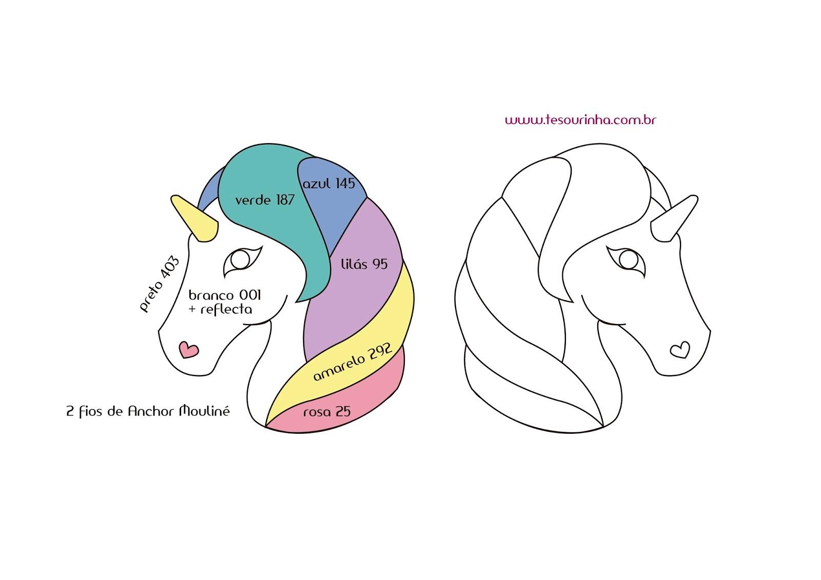 Ariane Tesourinha Aplique Unicornio Ponto Russo