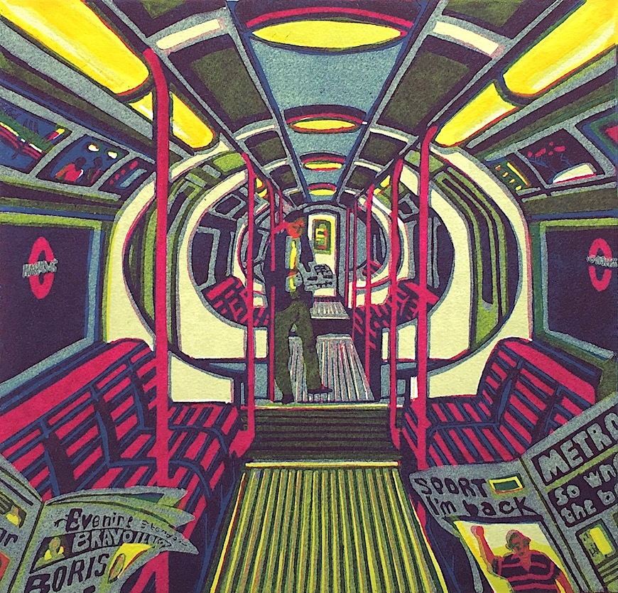 a Gail Brodholt print of a subway interior tube