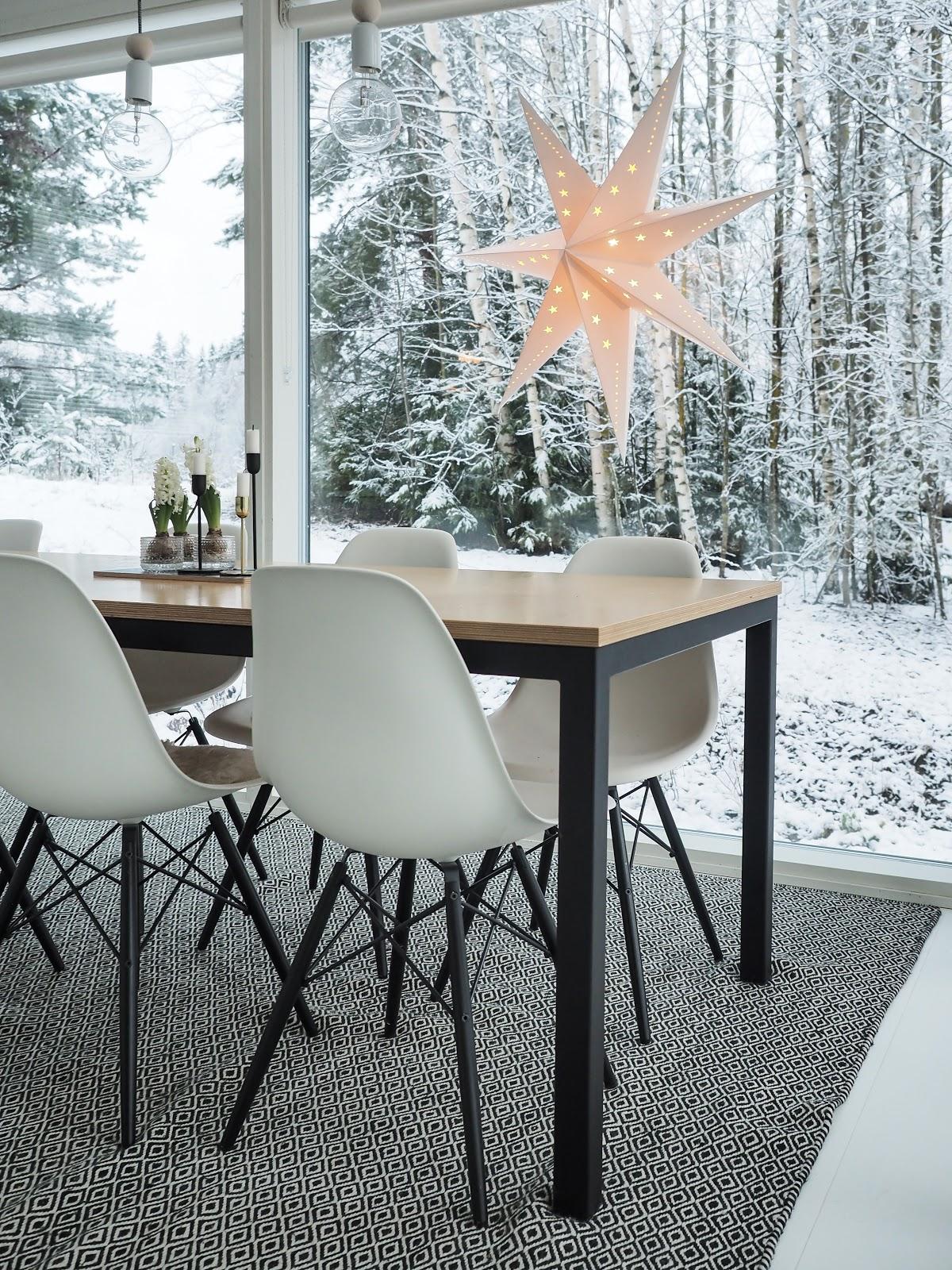 keittiö, vaneripöytä, sisustus, joulu