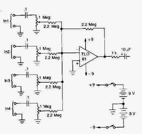 Mutant Wiring Diagram Ic Tl081 Based 4 Microphones Mixer Circuit Diagram