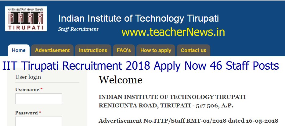 IIT Tirupati Recruitment 2018 Apply Now 46 Staff Posts at iittp.ac.in