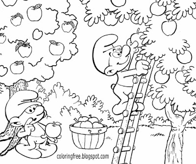 Blue Smurfs cartoon book ideas Lazy Smurf apple picking beautiful garden Farmer Smurf Coloring pages
