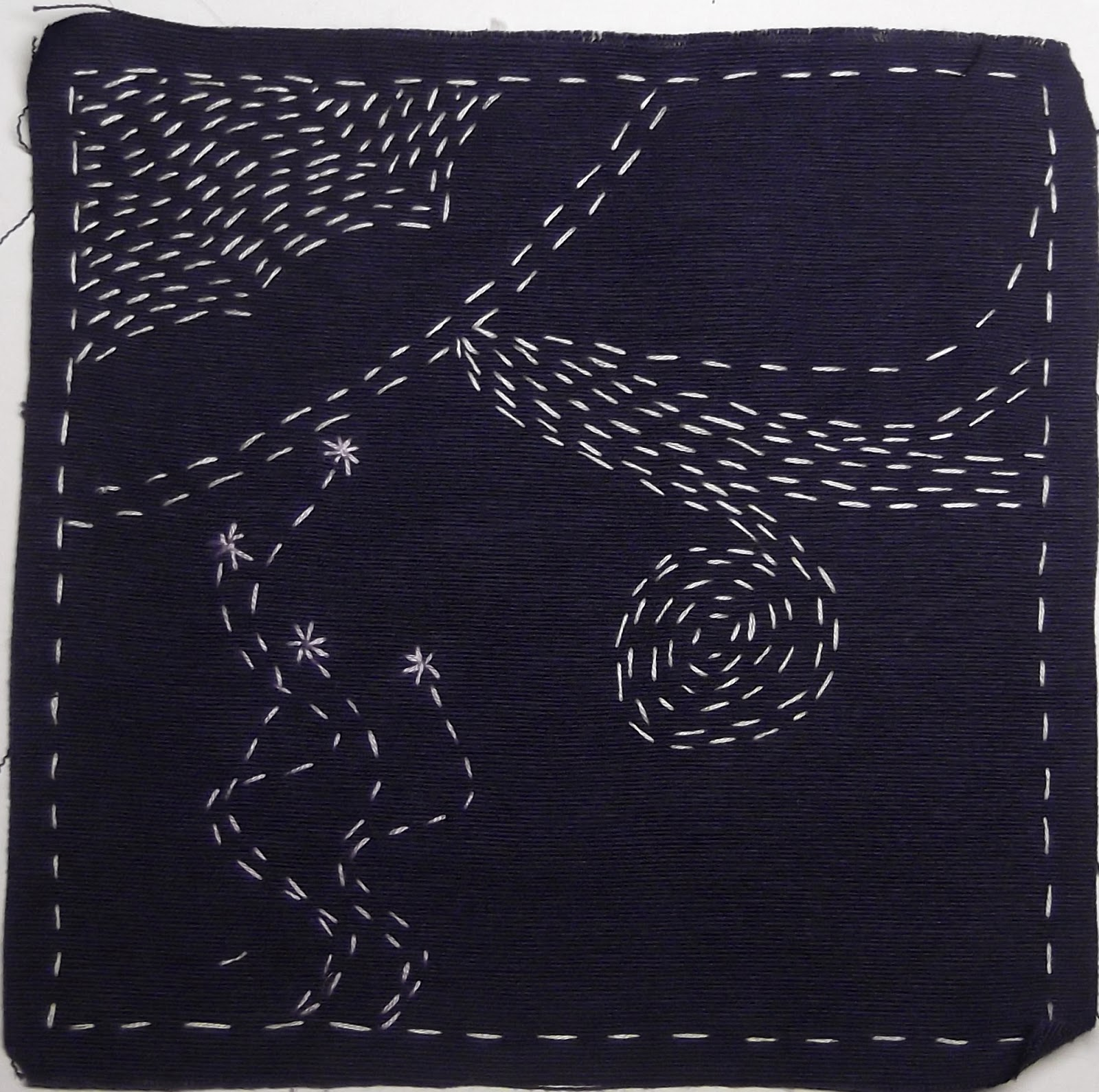 shashiko, running stitch, doodling in embroidery