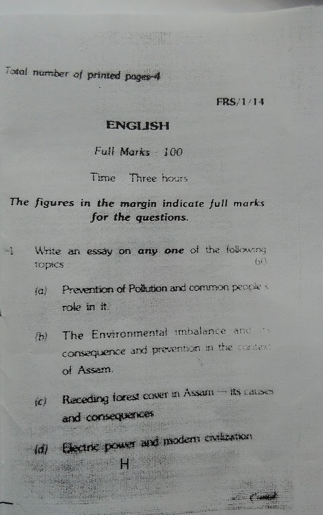 APSC FOREST  RANGER PREVIOUS YEAR QUESTIONS PAPER  FOR ENGLISH 2014.-Download Questions