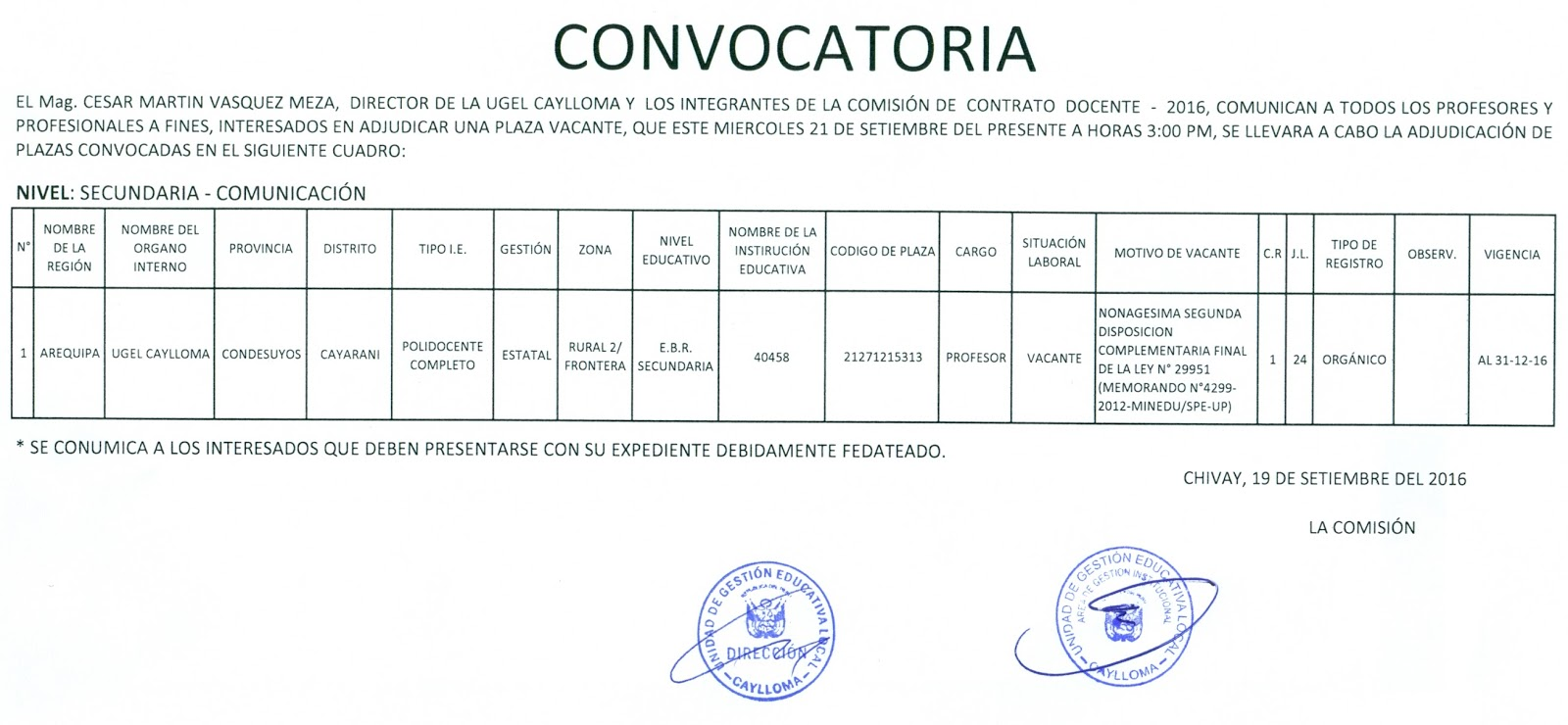 Convocatoria plaza docente ugel caylloma for Convocatoria de plazas docentes 2016
