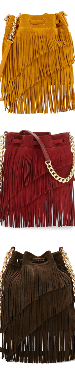 Elizabeth and James Suede Fringe Pouch Crossbody Bag