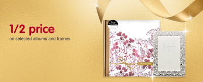 Picture of Boots advertisement for half price sale on selected photo albums and frames