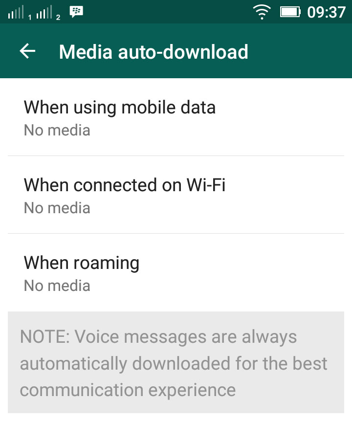 Disable WhatsApp Media Auto Download