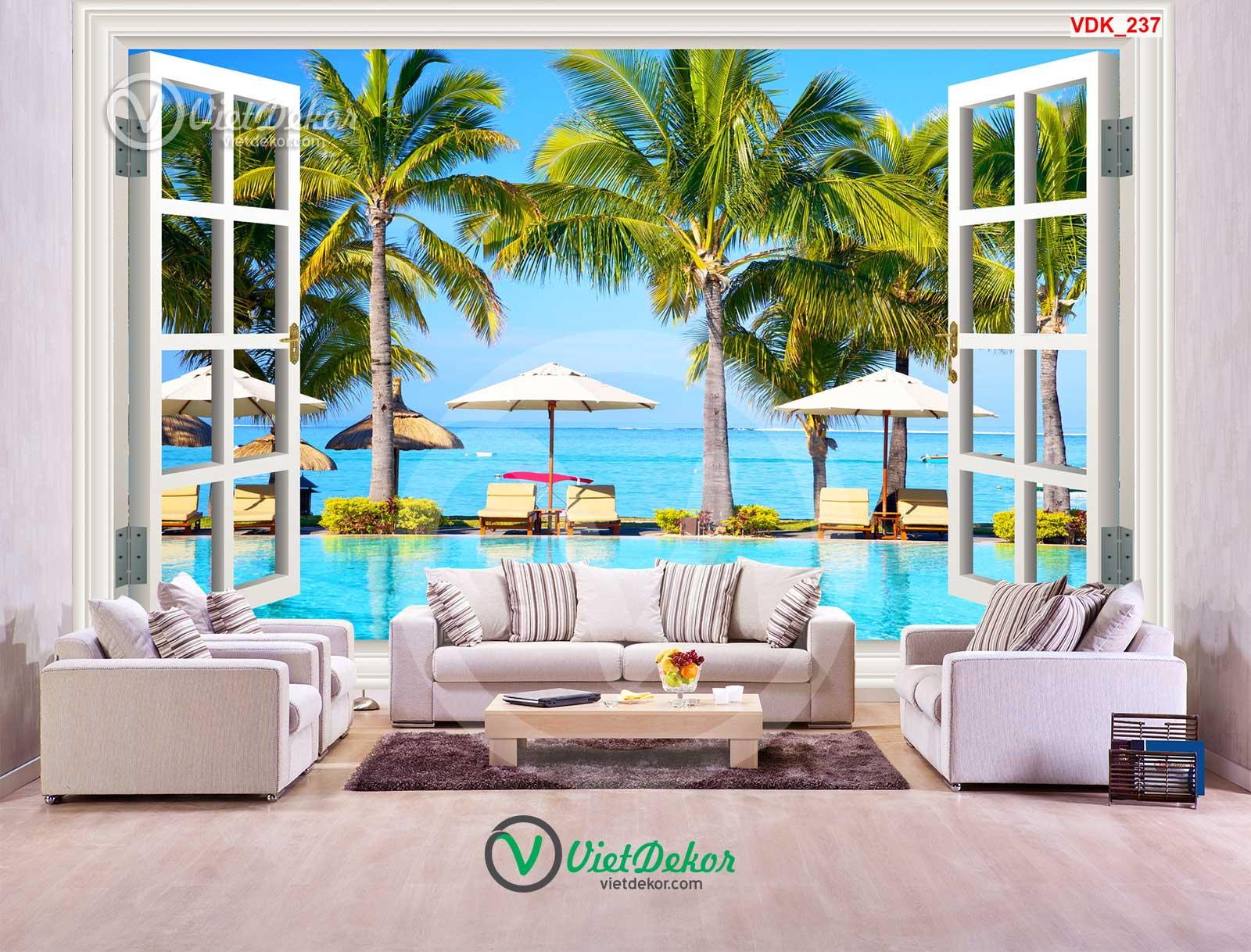 Tranh dán tường 3d cửa sổ phong cảnh biển và cây