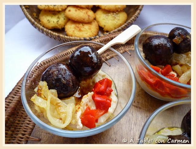 Delicias de Morcilla con Hummus de Judías Blancas y Galletas de Queso (sin gluten)