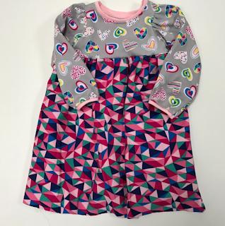handmade, made in usa, kids clothes, girls dress, playdress, knit, tshirt dress, jersey, pink, hearts, WTKPD16