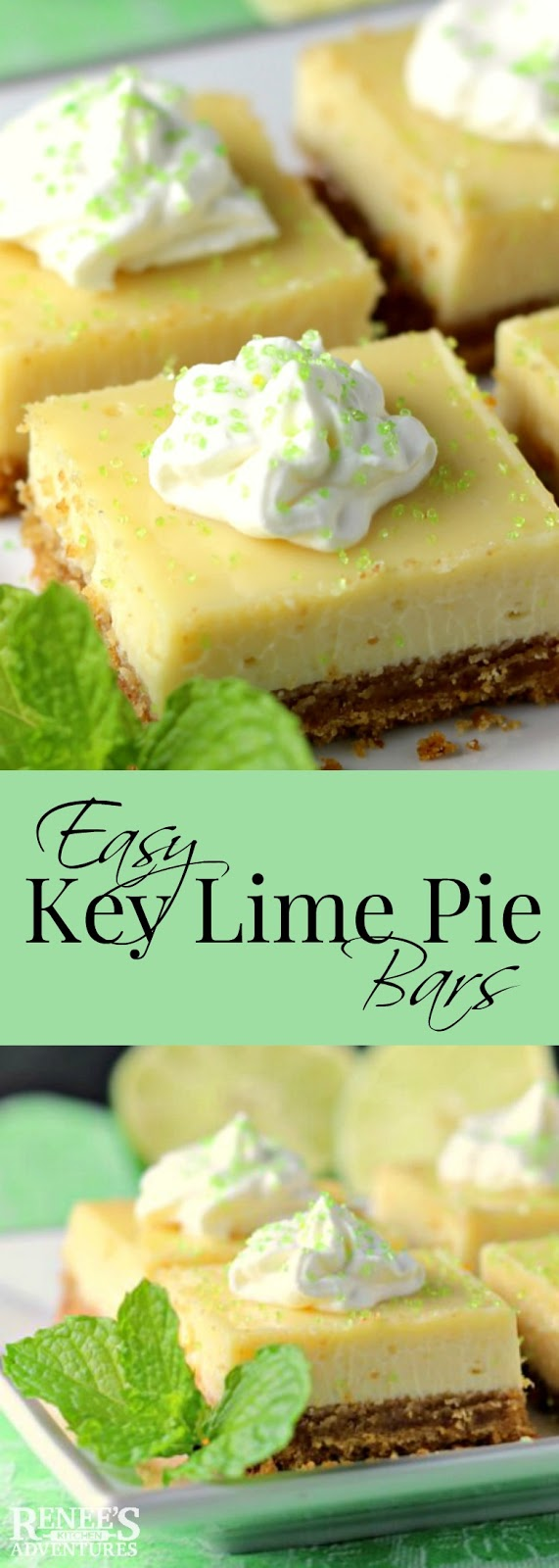 Easy Key Lime Pie Bars | Renee's Kitchen Adventures - easy dessert recipe for key lime pie bars made with key lime juice, condensed milk and eggs. #dessert #lime
