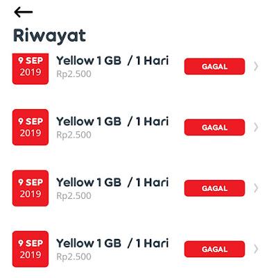 tidak bisa daftar paket yellow