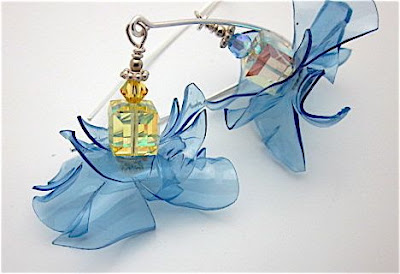 plastic bottles in design of earrings