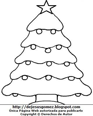 Imagen de Arbol de Navidad con bolas y una estrella para colorear. Arbol de Navidad hecho por Jesus Gómez