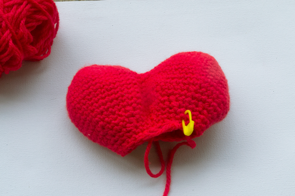 this is how the crochet heart looks before sewing it together