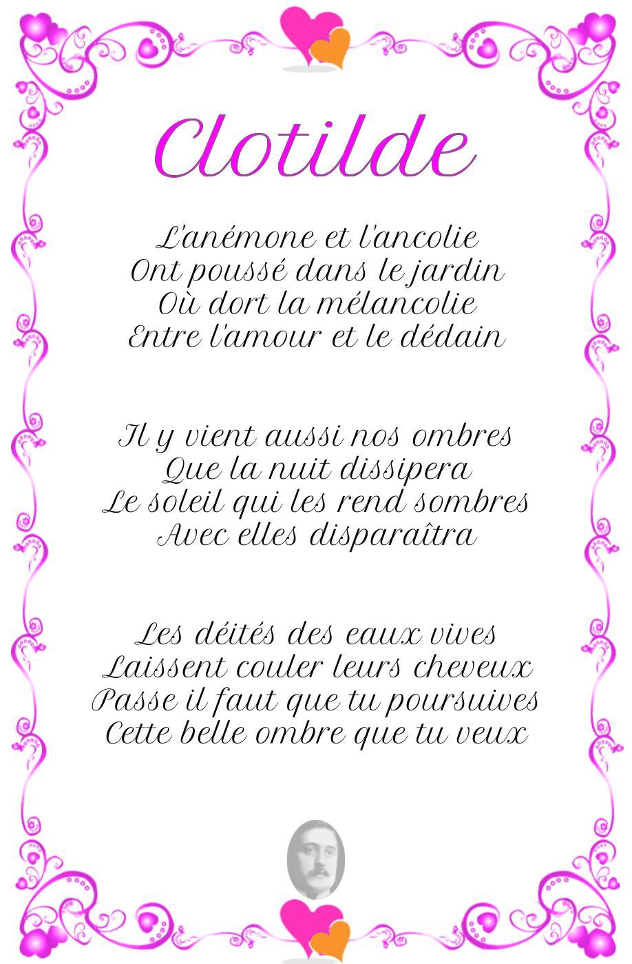 Clotilde, poème de Guillaume Apollinaire