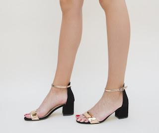 sandale elegante negre cu auriu de zi cu toc gros