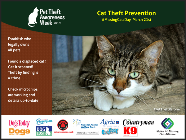 Cat theft Prevention - establish who legally owns pets - Theft by finding is a crime - check your pets microchips are up-to-date