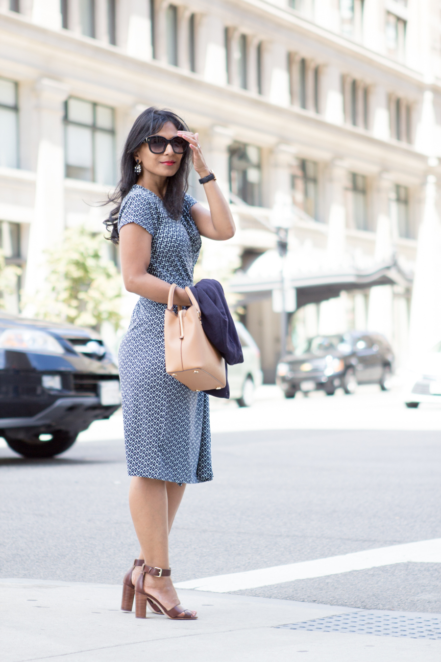 ann taylor, work dress, wrap dress, presentation style, dress for success, petite fashion, corporate chic, office style, 9 to 5 style, cardigan, navy, block heels, girl boss, power dressing, women's style, fashion blog, boston street style