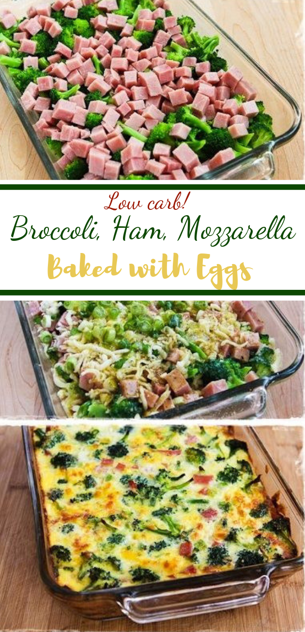 Low-Carb Broccoli, Ham, and Mozzarella Baked with Eggs #keto #healthy