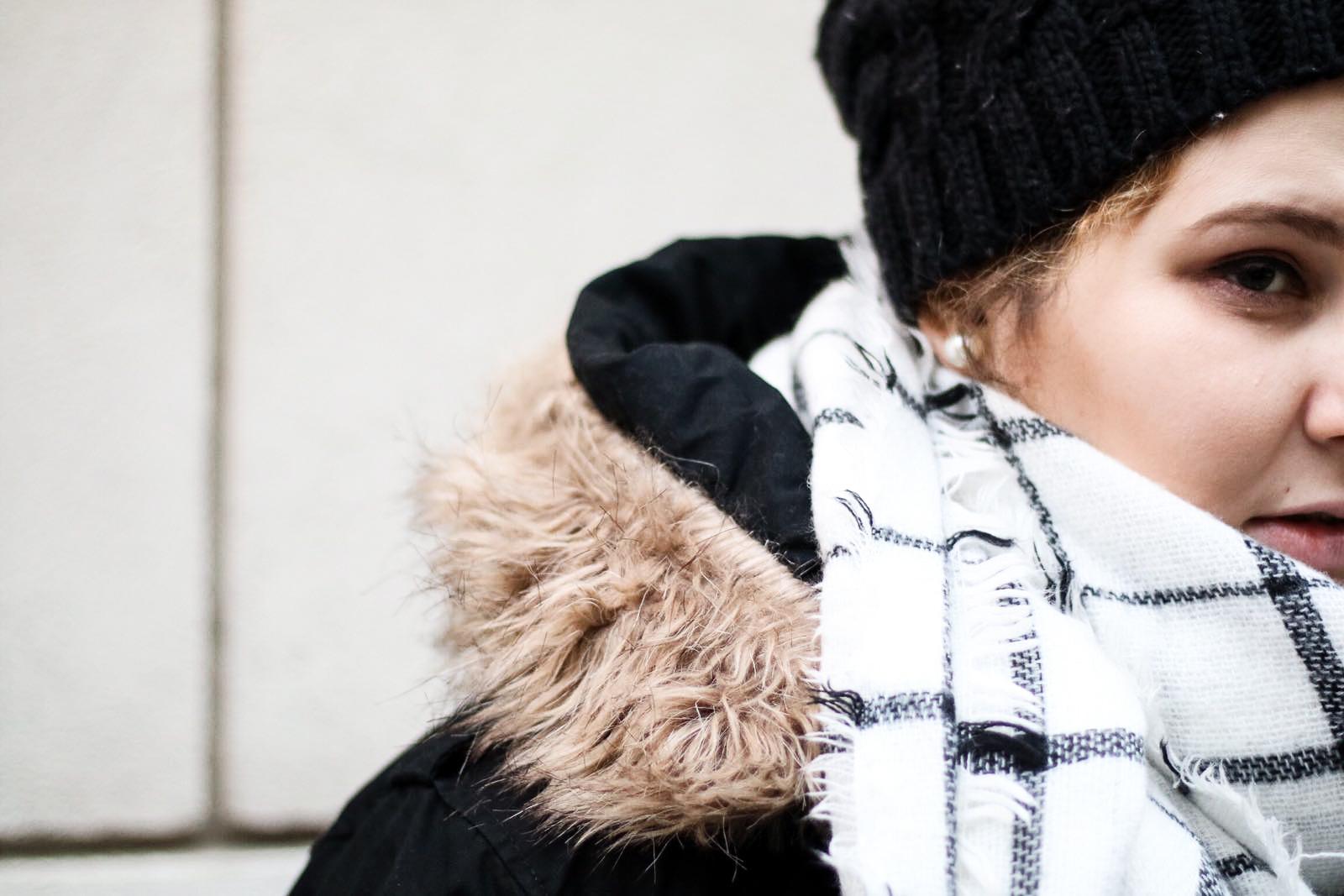 talvi, pukeutuminen, tyyli, muoti, plussize, plussakokoinen, talvitakki, parkatakki,