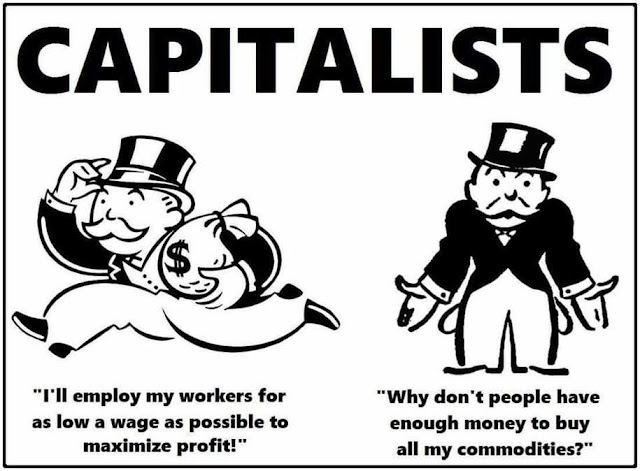Monopoly Man as capitalist.  Frame One:  I'll pay my workers as little as possible to maximize profit.  Frame Two:  Why can't persons afford to buy my commodities?