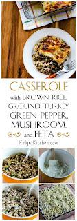Casserole with Brown Rice, Ground Turkey, Green Pepper, Mushrooms, and Feta  found on KalynsKitchen.com