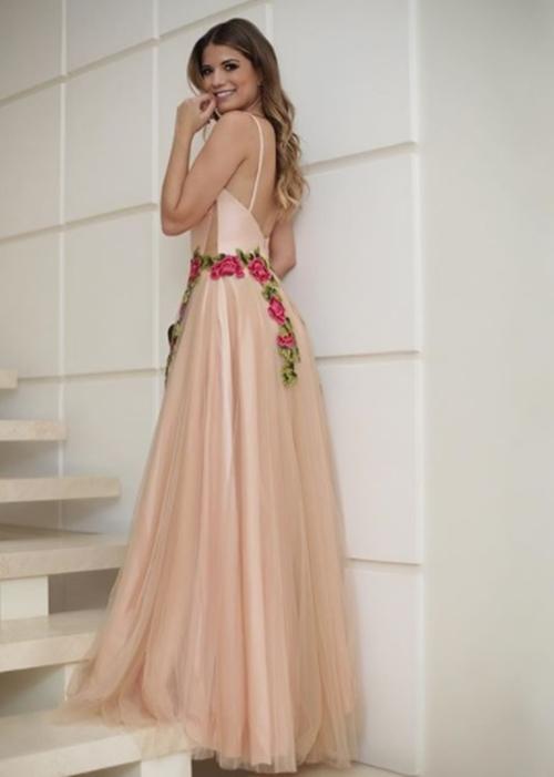 vestido de festa rosa nude