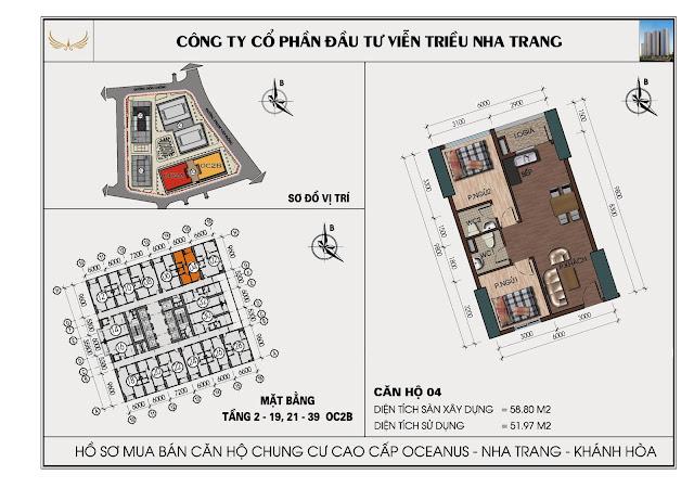 Sơ đồ căn hộ số 04 tòa OC2BViễn Triều Nha Trang