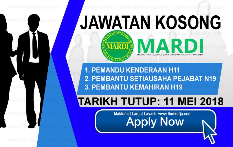 Jawatan Kerja Kosong MARDI - Institut Penyelidikan dan Kemajuan Pertanian Malaysia logo www.findkerja.com mei 2018