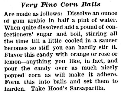 """Very Fine Corn Balls"" recipe from Hood's Cookbook"