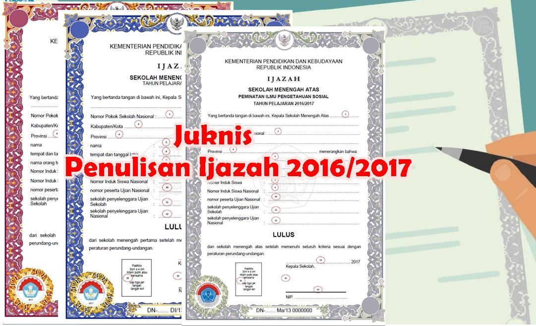 Inilah Juknis Pengisian Ijazah Tahun 2017 Sd Smp Sma Kurikulum 2013 Revisi