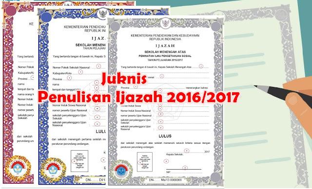Juknis Penulisan Ijazah Tahun 2017 SD/SMP/SMA