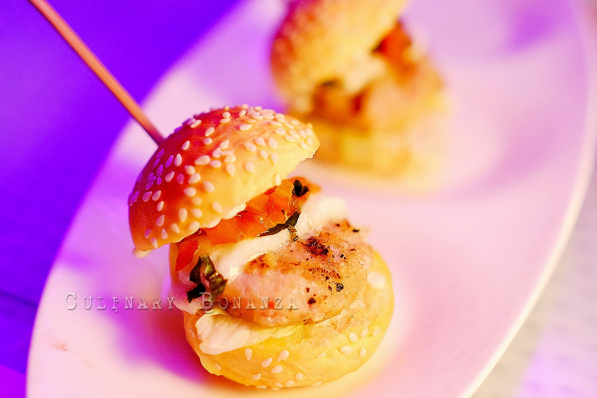 Lobster or Beef Sliders - served with tomato basil compote and buffalo mozzarella