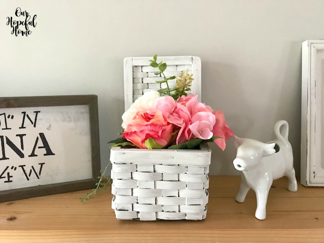white vintage square lidded basket storage farmhouse decor
