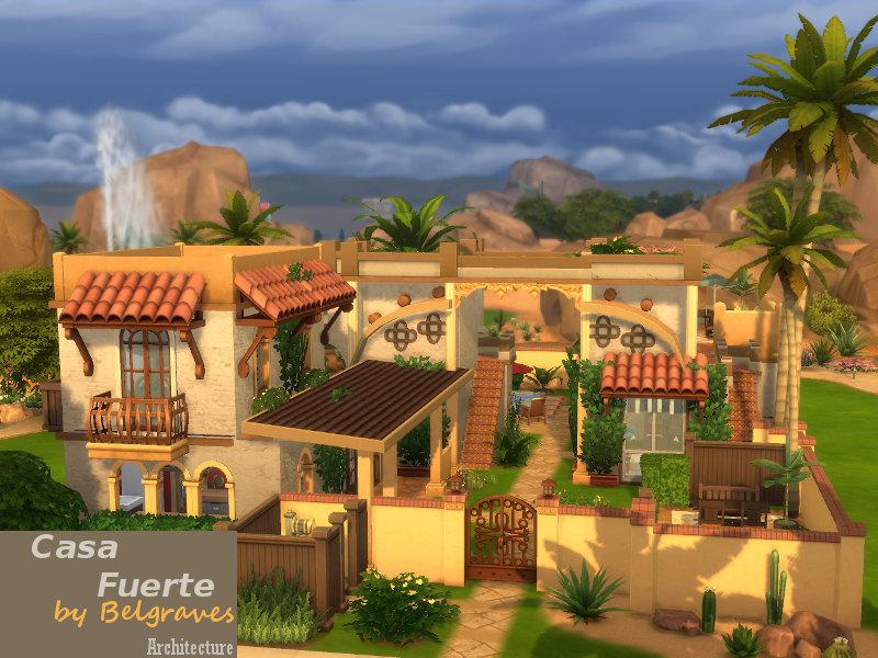 Mediterranean Casa Fuerte Sims 4 Houses
