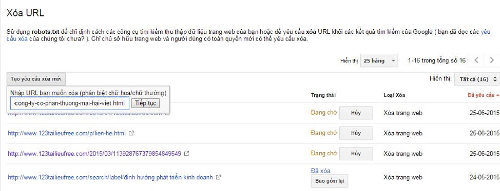 xóa url trong google webmaster tools