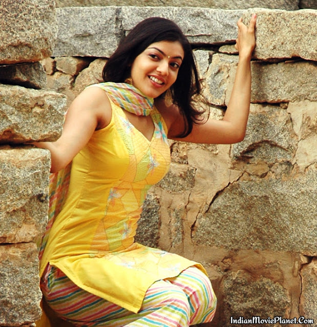 actress kajal aggarwal hot tight dress stills yellow salwar