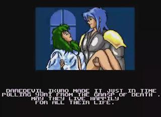 Captura de pantalla con el final de Apidya. Ikuro abraza a Yuri curada