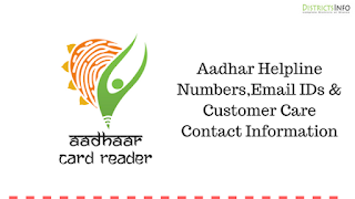 Aadhar Helpline Numbers, Email IDs & Customer Care Contact Information