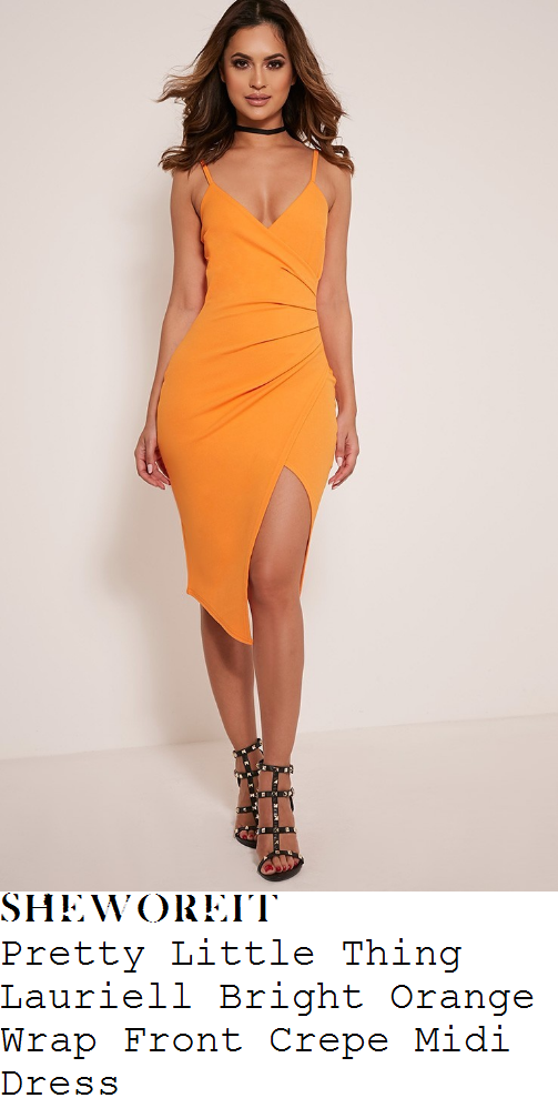 kylie-jenner-pretty-little-thing-lauriell-bright-orange-sleeveless-plunge-wrap-front-draped-asymmetric-midi-dress