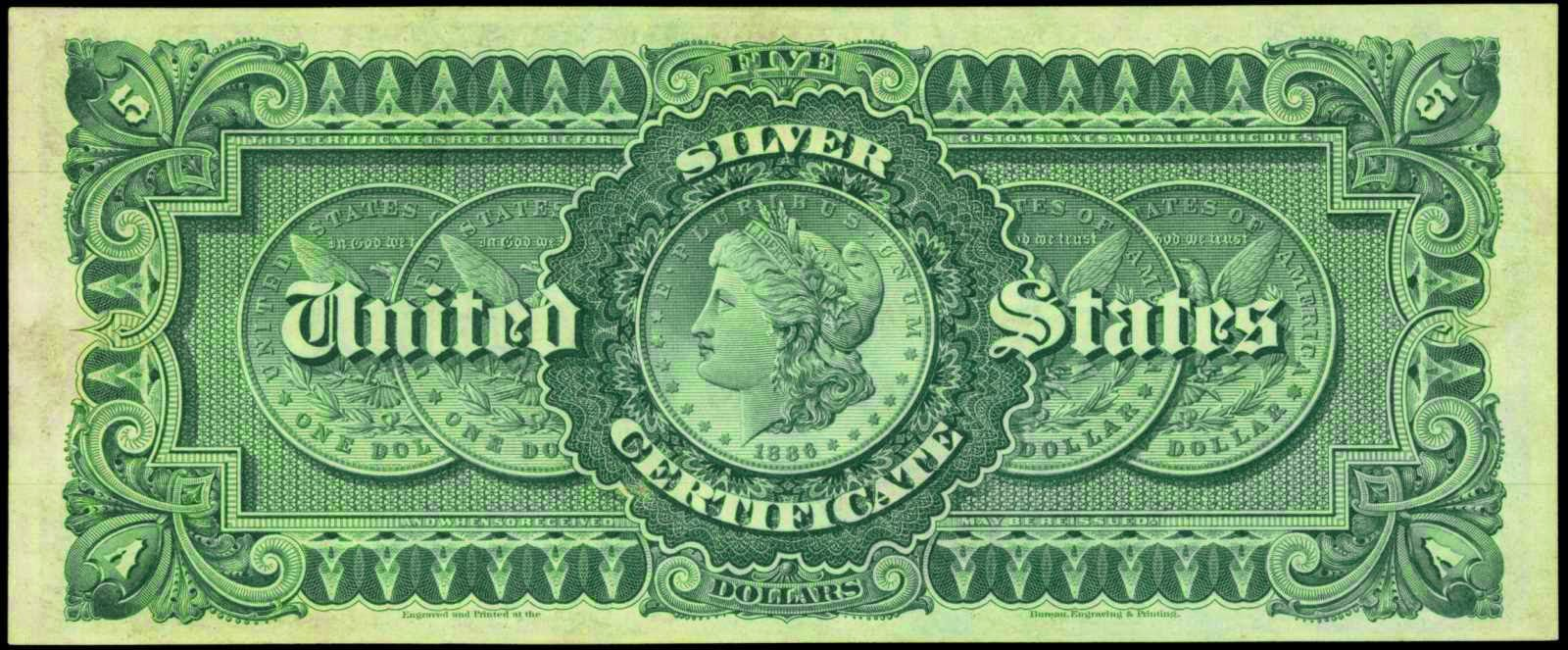 US paper money 1886 5 Dollars Silver Certificate Morgan Silver Dollar Coins Back