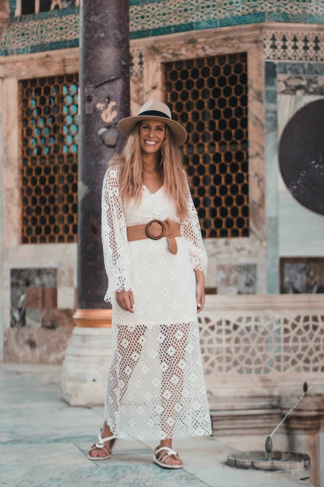 vestido crochet blanco zara