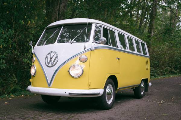 1965 vw bus 13 window yellow deluxe vw bus. Black Bedroom Furniture Sets. Home Design Ideas