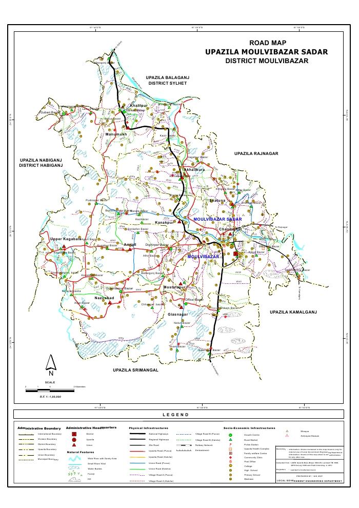Moulvibazar Sadar Upazila Road Map Moulvibazar District Bangladesh