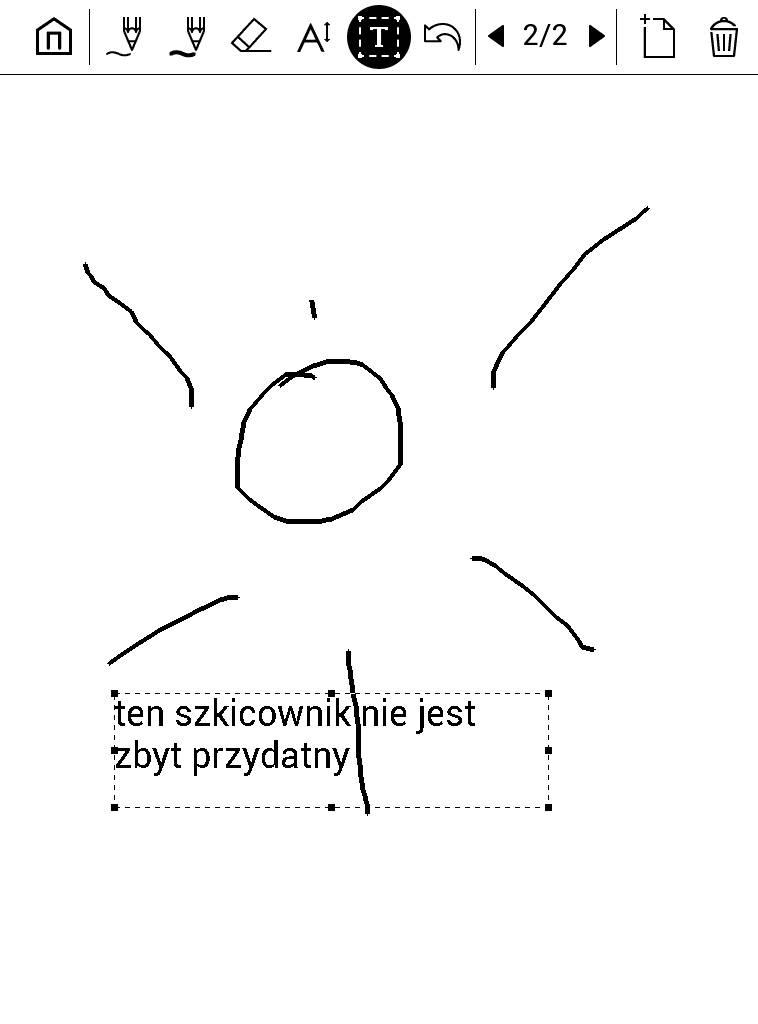 Tekst wpisany z klawiatury oraz rysunek w aplikacji Szkicownik na PocketBook Touch Lux 4