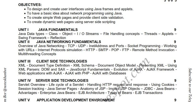 Ec6008 Web Technology Syllabus Semester Vii Ece Be Anna University