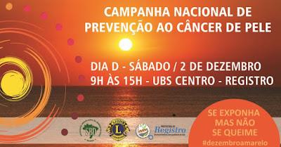 Neste sábado, 2/12, tem Campanha de Combate ao Câncer da Pele em Registro-SP